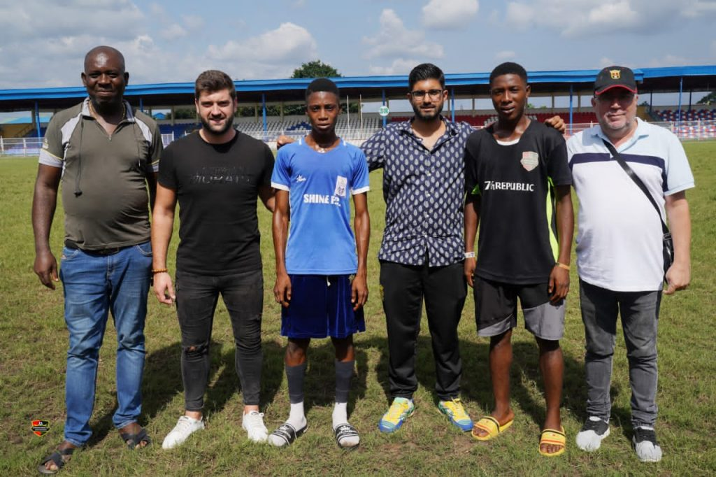 Three International Scouts with two of the selected players . Picture by Everest Ezihe, Owerri.