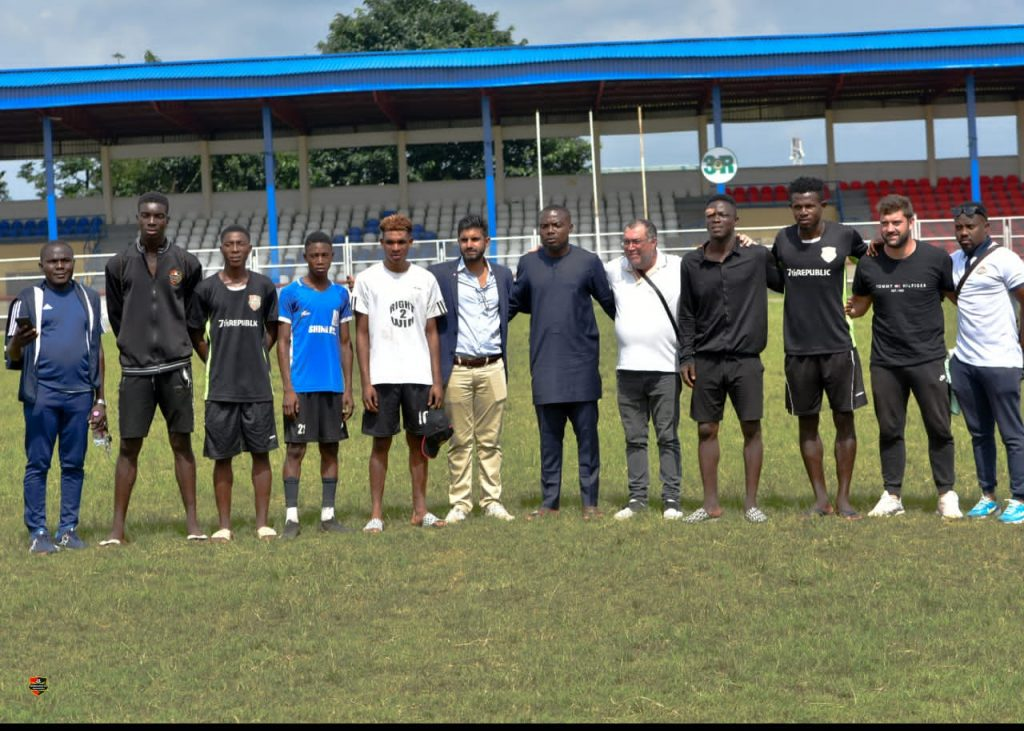 International Scouts starting from left, Messrs  Clvis Govn, Pako Pepe Daswani, Clvis Govn, with Mr. Michael Chukwudi Amaefule, Chairman Kun Khaliafat FC in the middle with black attire  and  Palo Papa Trijilio. Pix by Everest Ezihe, Owerri.